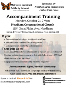 Accompaniment training on Oct 21 at 7pm at the Congregational Church in Needham.